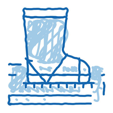 aeration ground with boot sketch icon vector. Hand drawn blue doodle line art trample ground with boot sign. isolated symbol illustration