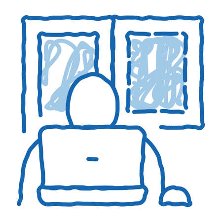 window glass in working room sketch icon vector. Hand drawn blue doodle line art window glass in working room sign. isolated symbol illustration