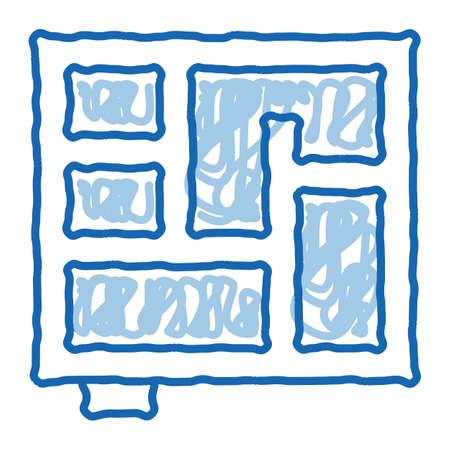 foundation plan sketch icon vector. Hand drawn blue doodle line art foundation plan sign. isolated symbol illustration Vecteurs