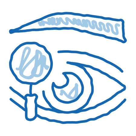 eyelid research sketch icon vector. Hand drawn blue doodle line art eyelid research sign. isolated symbol illustration