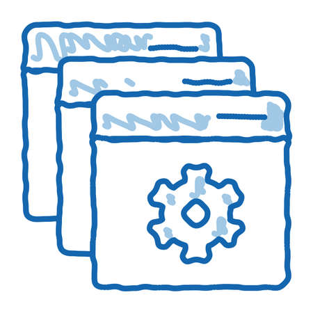 web site settings sketch icon vector. Hand drawn blue doodle line art web site settings sign. isolated symbol illustration