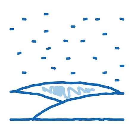 snowy field sketch icon vector. Hand drawn blue doodle line art snowy field sign. isolated symbol illustration