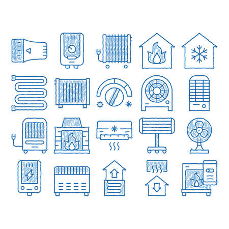 Heating And Cooling sketch icon vector. Hand drawn blue doodle line art Cool And Humidity, Airing, Ionisation And Heating Concept Pictograms. Conditioning Related Illustrations Vetores