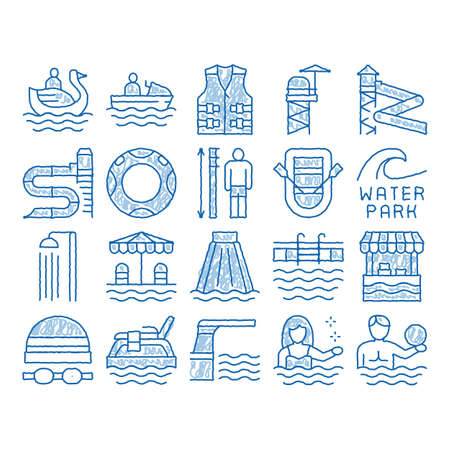 Water Park Attraction sketch icon vector. Hand drawn blue doodle line art Swimming Wear And Equipment, Life Jacket And Lifebuoy, Boat And Water Park Pool Illustrations