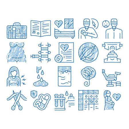 Maternity Hospital sketch icon vector. Hand drawn blue doodle line art Hospital Prenatal Ward And Generic Chair, Anesthesiologist And Obstetrician, Contractions And Placenta Illustrations Vector Illustration