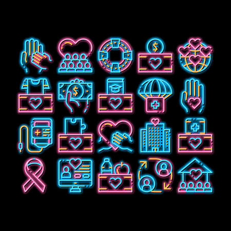 Volunteers Support neon light sign vector. Glowing bright icon Volunteers Support, Charitable Organizations Pictograms. Blood Donor, Food Donations, Financial Help, Humanitarian Aid Illustrations