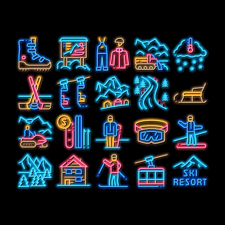 Ski Resort Vacation neon light sign vector. Glowing bright icon Ski Snow Track And Shoe, Protective Glasses And Sled, Chairlift Cableway And Cabin Illustrations