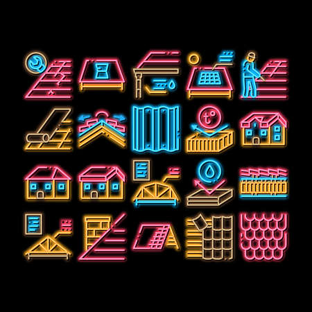 Roof Housetop Material neon light sign vector. Glowing bright icon House Roof Waterproof And Temperature Heat Resistant Construction, Repair And Installation Illustrations