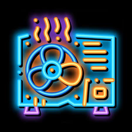 Broken Conditioner System neon light sign vector. Glowing bright icon transparent symbol illustration 矢量图片