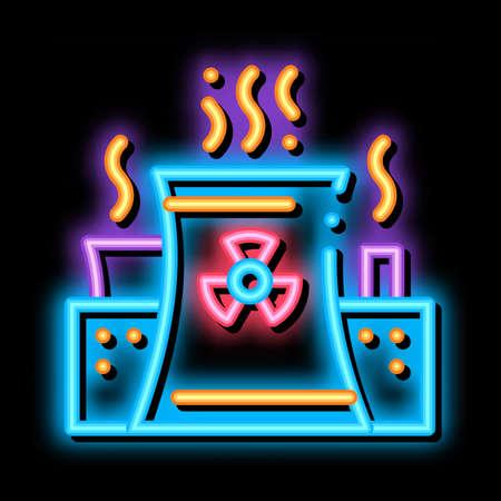 Generating Atomic Plant neon light sign vector. Glowing bright icon transparent symbol illustration Vector Illustratie