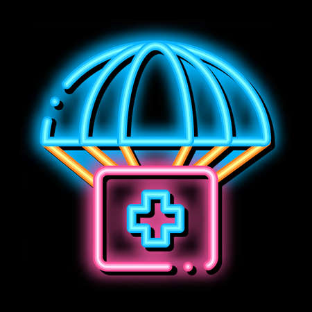 Volunteers Support Parachute neon light sign vector. Glowing bright icon transparent symbol illustration
