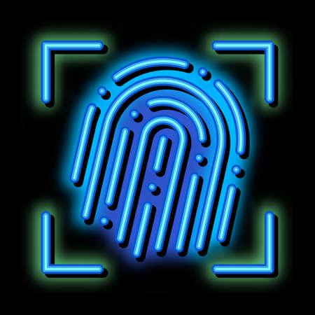 Fingerprint Dactylogram Scanner neon light sign vector. Glowing bright icon transparent symbol illustration