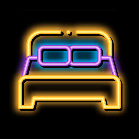 Motel Comfortable Double Bed neon light sign vector. Glowing bright icon transparent symbol illustration