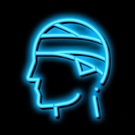 Bandaged Head Man Silhouette Headache neon light sign vector. Glowing bright icon transparent symbol illustration
