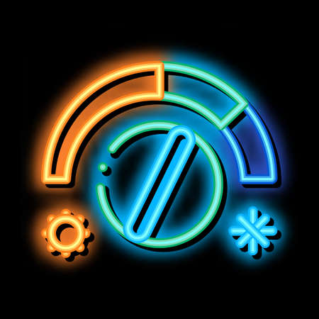 Termostat Heating And Cooling Detail neon light sign vector. Glowing bright icon transparent symbol illustration Vetores