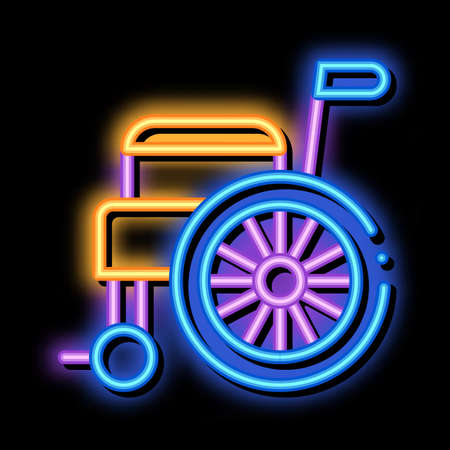 Self-Propelled Wheelchair Equipment neon light sign vector. Glowing bright icon transparent symbol illustration