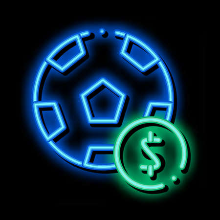 Soccer Ball Betting And Gambling neon light sign vector. Glowing bright icon sign. transparent symbol illustration