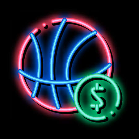Basketball Ball Betting And Gambling neon light sign vector. Glowing bright icon sign. transparent symbol illustration