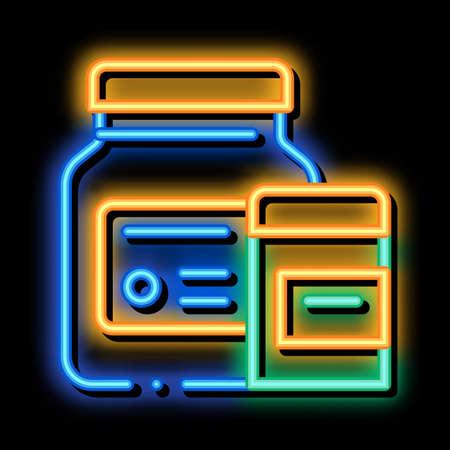Medicine Healthcare Bottles Supplements neon light sign vector. Glowing bright icon sign. transparent symbol illustration