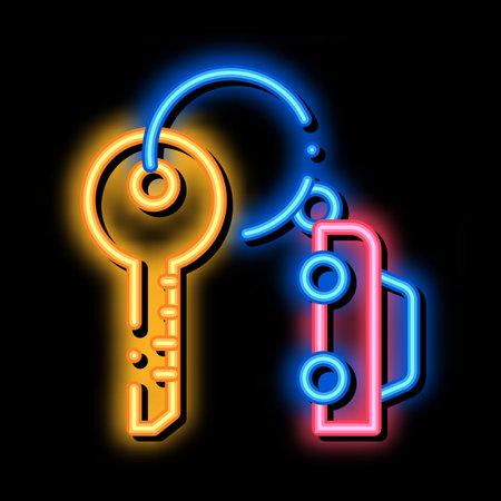 Car Keys neon light sign vector. Glowing bright icon Car Keys sign. transparent symbol illustration Vecteurs