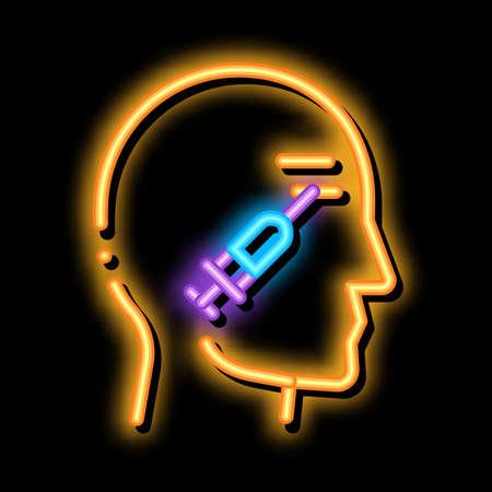 Cosmetic Injection in Eye neon light sign vector. Glowing bright icon Cosmetic Injection in Eye sign. transparent symbol illustration Vector Illustratie