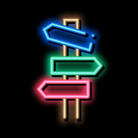 Road Wooden Signposts neon light sign vector. Glowing bright icon Road Wooden Signposts sign. transparent symbol illustration