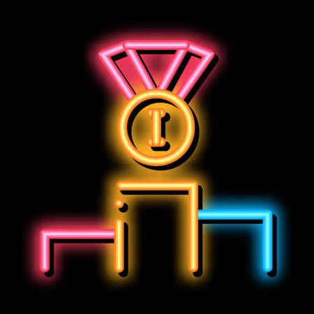 Winning Medal for 1st Place neon light sign vector. Glowing bright icon Winning Medal for 1st Place sign. transparent symbol illustration Ilustración de vector