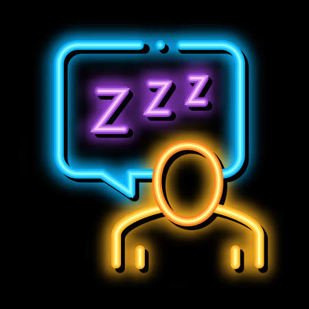 Human Zzz In Quote Frame neon light sign vector. Glowing bright icon Human Zzz In Quote Frame sign. transparent symbol illustration