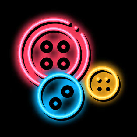 Sewing Buttons neon light sign vector. Glowing bright icon Sewing Buttons sign. transparent symbol illustration