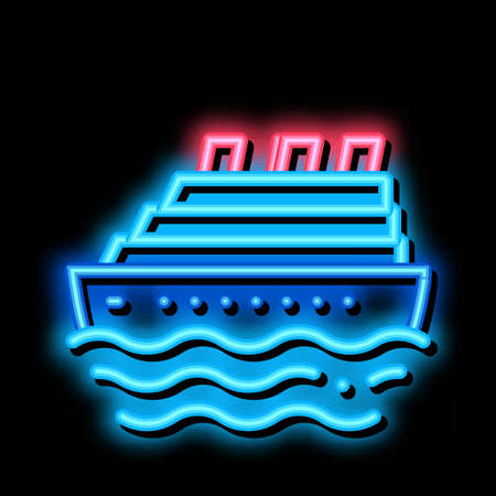 Cruise Ship neon light sign vector. Glowing bright icon Cruise Ship sign. transparent symbol illustration