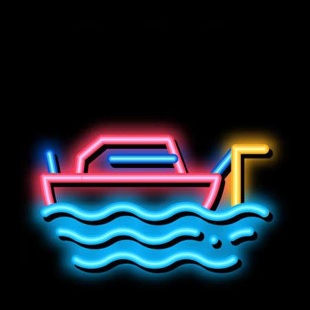 Fishing Ship neon light sign vector. Glowing bright icon Fishing Ship sign. transparent symbol illustration