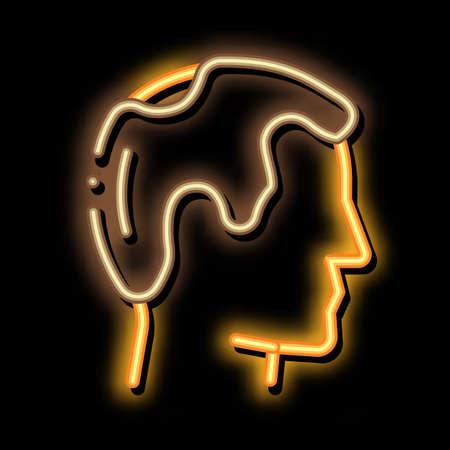Balding Man Profile neon light sign vector. Glowing bright icon Balding Man Profile sign. transparent symbol illustration