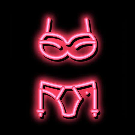 Sexy Underwear neon light sign vector. Glowing bright icon Sexy Underwear sign. transparent symbol illustration