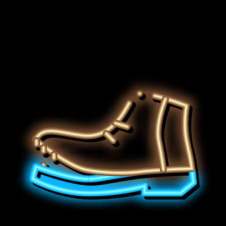 Shoe Torn Sole neon light sign vector. Glowing bright icon Shoe Torn Sole sign. transparent symbol illustration