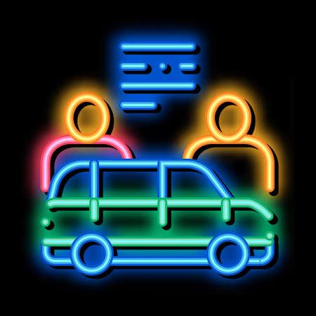 Car Dealer Buyer neon light sign vector. Glowing bright icon Car Dealer Buyer isometric sign. transparent symbol illustration
