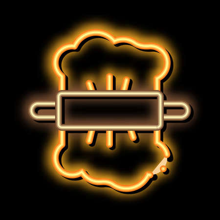Rolling Dough neon light sign vector. Glowing bright icon Rolling Dough isometric sign. transparent symbol illustration