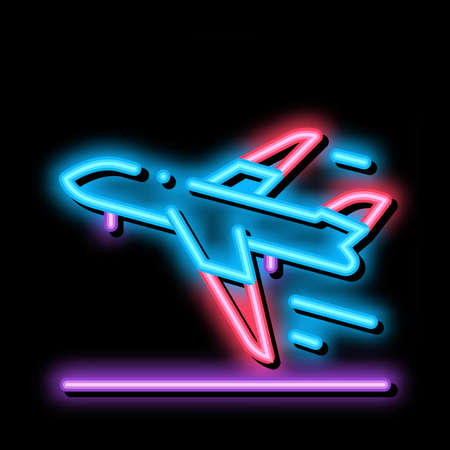 Take Off Airplane Airport neon light sign vector. Glowing bright icon Passenger Airplane Flying Along Route Concept Linear Pictogram. Air Transport Aircraft sign. transparent symbol illustration