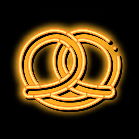 Bakery Pretzel Tasty Food neon light sign vector. Glowing bright icon Salty Or Sweet German Traditional Pretzel Delicious Nutrition sign. transparent symbol illustration Vettoriali