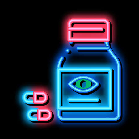 Bottle With Pills For Eyes neon light sign vector. Glowing bright icon Biologically Active Supplement Medication Pills Package sign. transparent symbol illustration