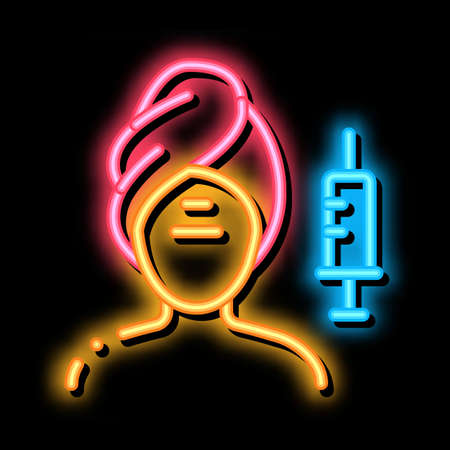 injection into problem areas of face neon light sign vector. Glowing bright icon injection into problem areas of face sign. transparent symbol illustration