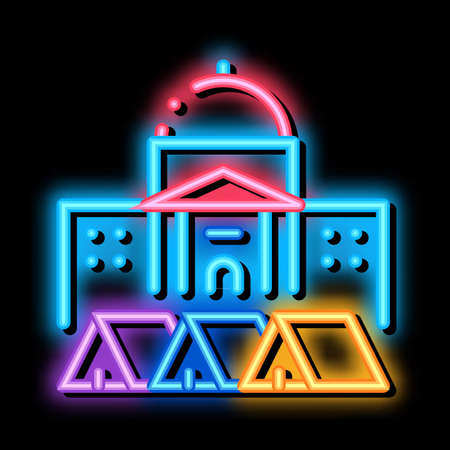 protesting tents in front of government neon light sign vector. Glowing bright icon protesting tents in front of government sign. transparent symbol illustration Vetores