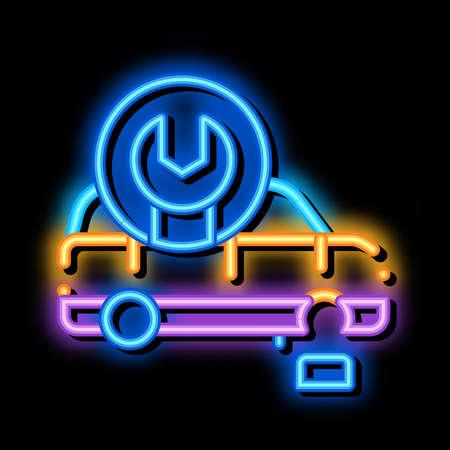 car wheel repair neon light sign vector. Glowing bright icon car wheel repair sign. transparent symbol illustration