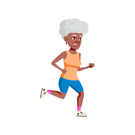 old african woman jogging on park track cartoon vector. old african woman jogging on park track character. isolated flat cartoon illustration