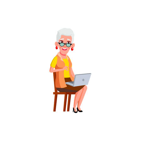 old lady using laptop in living room cartoon vector. old lady using laptop in living room character. isolated flat cartoon illustration