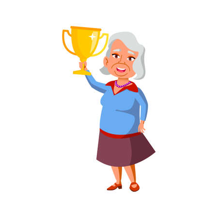old woman holding award won in competition cartoon vector. old woman holding award won in competition character. isolated flat cartoon illustration Ilustración de vector