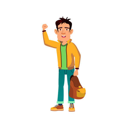 boy student with backpack showing power cartoon vector. boy student with backpack showing power character. isolated flat cartoon illustration Vektorové ilustrace