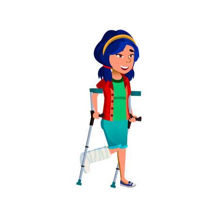 smiling girl with broken leg going on crutches from doctor cartoon vector. smiling girl with broken leg going on crutches from doctor character. isolated flat cartoon illustration Vecteurs