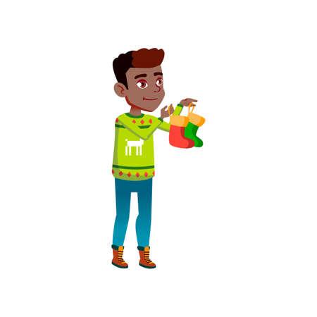 smiling boy teenager holding socks for santa claus presents cartoon vector. smiling boy teenager holding socks for santa claus presents character. isolated flat cartoon illustration