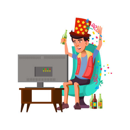 happy guy fan watching football game, drinking beer and celebrate victory with confetti cartoon vector. happy guy fan watching football game, drinking beer and celebrate victory with confetti character. isolated flat cartoon illustration