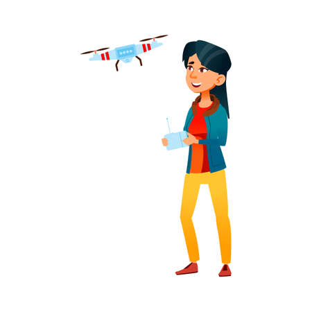 happy young lady control drone in park cartoon vector. happy young lady control drone in park character. isolated flat cartoon illustration Vetores
